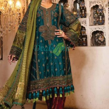 MariaB 3 Piece Embroidered Organza Suit