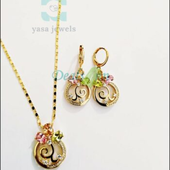 18K Gold plated Stones Multicolor Set
