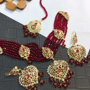 Bridal set kundhan red