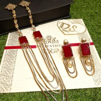 Red-Emerald-Stone-Chain-Long-Mala-Set