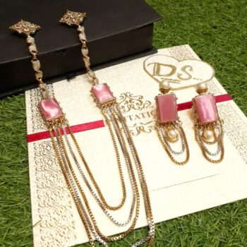 Pink-Emerald-Stone-Chain-Long-Mala-Set