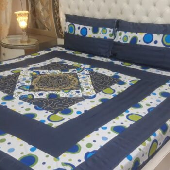 King Size Center Embroidered Patch Bed Sheets Elegant Design In Export Quality Cotton darkblue