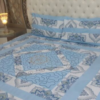 King Size Center Embroidered Patch Bed Sheets Elegant Design In Export Quality Cotton Sotton