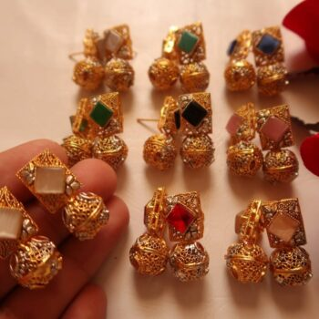 Stone-stud -earrings-and-jhumka